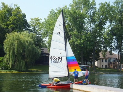 Steve's first sail, after buying Jess's Hobie.