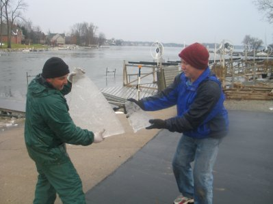Mike Geryak Holds the Main Sail - Howard Roeschlein Holds the Jib